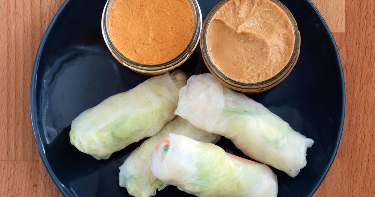 Rollitos vietnamitas con salsa de cacahuetes y de pimiento