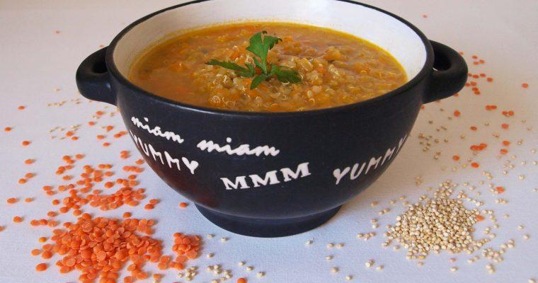Sopa de quinoa con lentejas coralinas